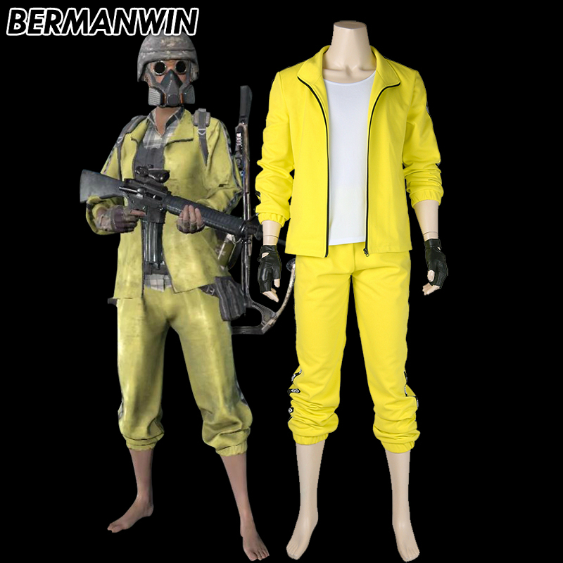 BERMANWIN High Quality Playerunknown's Battlegrounds Tracksuit Halloween Cosplay costume PUBG yellow Tracksuit game suit