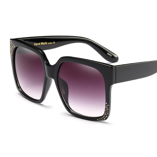Women Luxury Crystal Rhinestone Square Oversize Mirror Sunglasses Retro Diamonds Sun Glasses 3