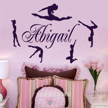 free shipping Personalized Name & Gymnasts Vinyl Wall Decal Gymnastics Dance Home Decor Wall Stickers Mural Poster tx-112