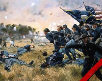 US CIVIL WAR 1ST MINNESOTA AT GETTYSBURG BATTLE copy oil painting work 100% HAND PAINTED PAINTING 36 inches FREE SHIPPING COST