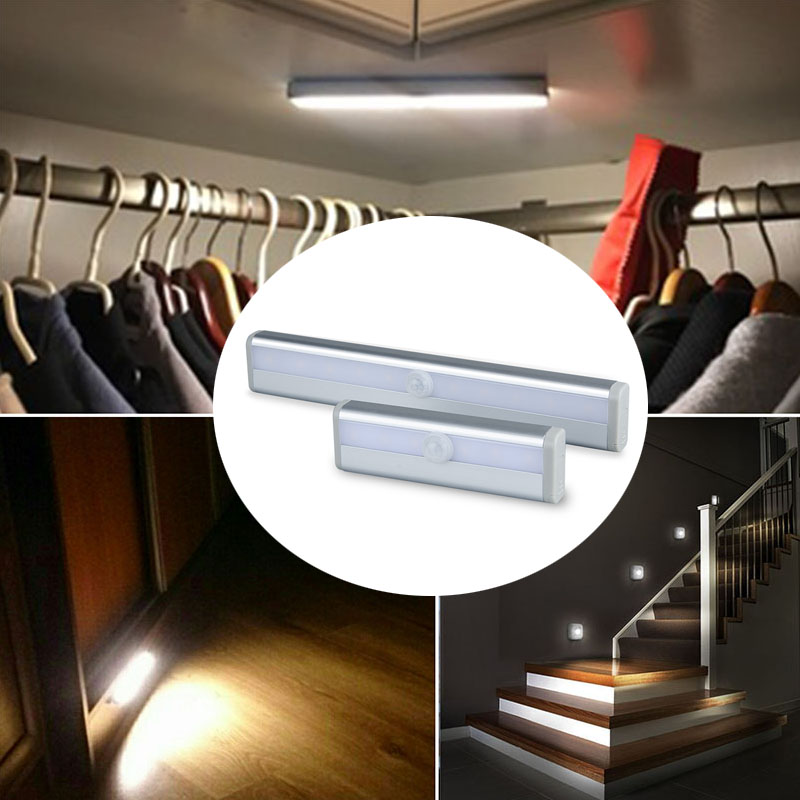 Battery Powered LED Under Cabinet Light Infrared Sensor Lamp 6 10LEDs Portable Led For Kitchen Closet Wardrobe Stairs Lighting