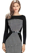 vestidos 2015 Women Summer Elegant Belted Tartan Patchwork Tunic Work Business Casual Party Bodycon Pencil Sheath