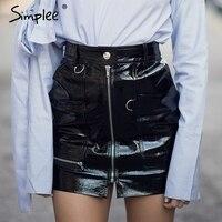 Simplee Sexy High Waist PU Leather Skirt Autumn Winter 2016 Elegant Zipper Pocket Women Skirt Casual