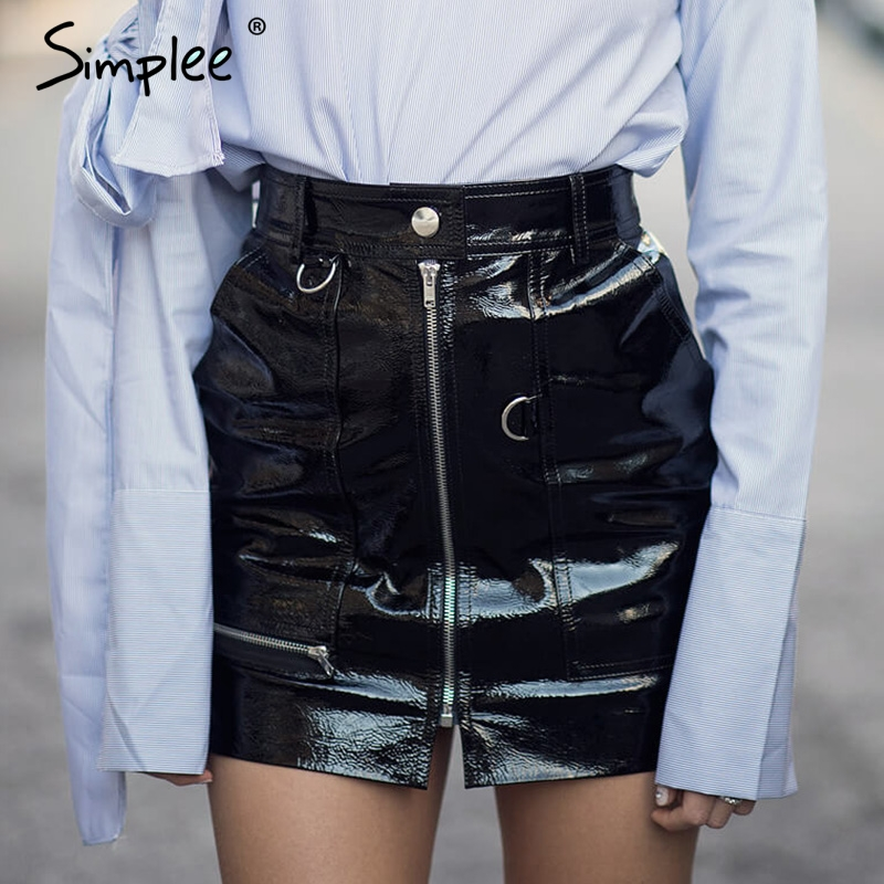 Simplee Sexy high waist PU leather skirt Autumn winter ...