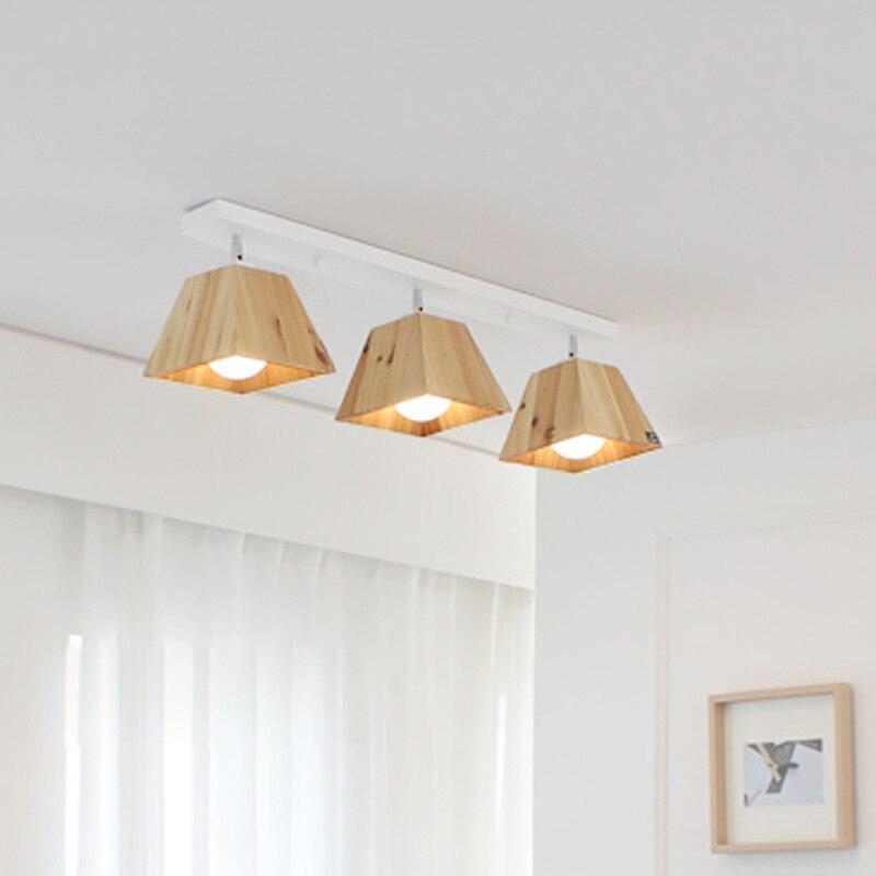 Nordic Holz Decke Lampe Japanischen Stil Massivholz Decke Montiert Sopt Licht Hintergrund Store Bar Shop Einstellbar Decke Lampe