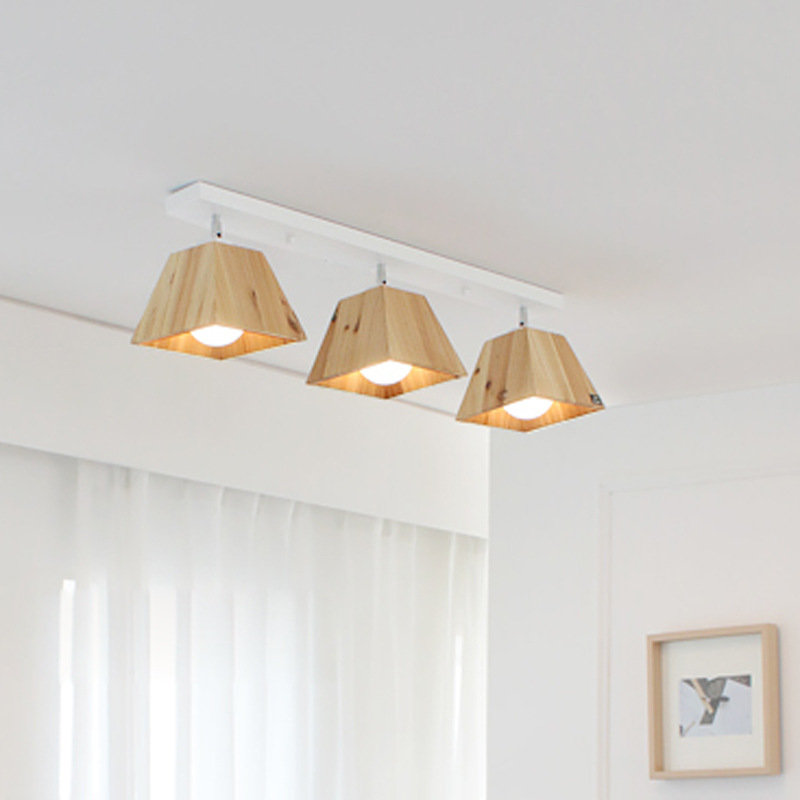 Nordic Wood Ceiling Lamp Japanese Style Solid Wood Ceiling Mounted Sopt Light Background Store Bar Shop Adjustable Ceiling Lamp