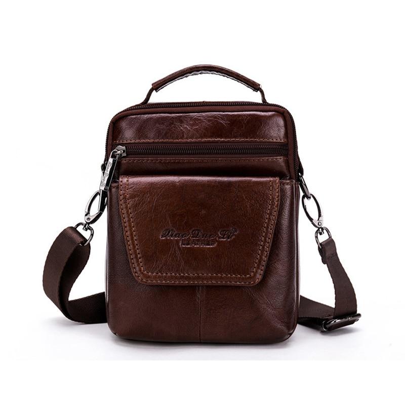 Brand Genuine Leather Small Casual&Bussiness Bag Men's Handbag Shoulder Bags Messenger Bag Zipper Pack For Travel