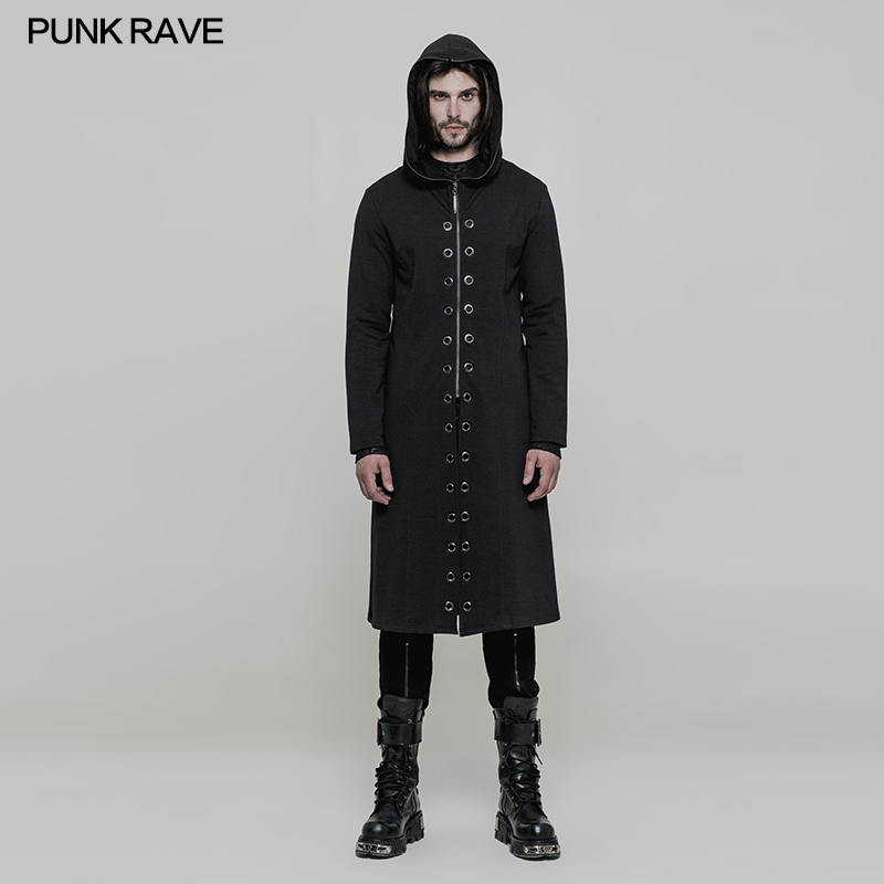 PUNK RAVE New Men Jacket Coat Knitted Fabric Hooded Gothic Steampunk Rock OY856 men s knitted jacket