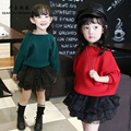 Nice Baby's Sweater Good Sale Acrylic Fashion Sweaters With Hat Long Sleeve Hooded Sweater Solid Green/Red Winter Sweaters Girls