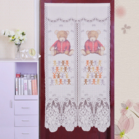 일본 한국어 스타일 커튼 꽃 인쇄 쉬어 창 커튼 주방 거실 문 도매