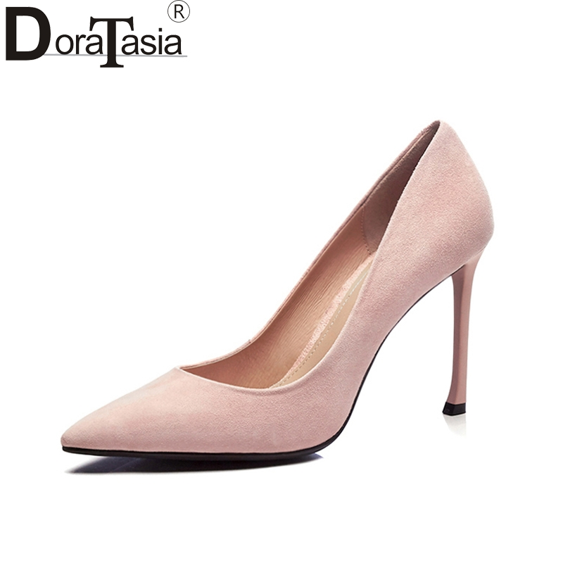 DoraTasia 2018 Top Quality Brand Shoes Woman Sexy Thin High Heels Slip On Kid Suede Leather Party Wedding Shoes Pumps Women 2018 new arrival women red gold metallic leather border snake pumps thin high heels party shoes lady slip on shoes woman