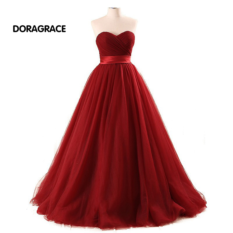 DORAGRACE Real Photos Glamorous Sweetheart Lace-Up A Line Floor-Length Burgundy Tulle Prom Dresses DGE088