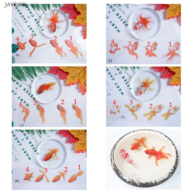 5 Sheets Gold Fish 3D Mold Resin Stickers Decal Landscape Decorative DIY Crafts Material Decoration Jewelry Filling Tools