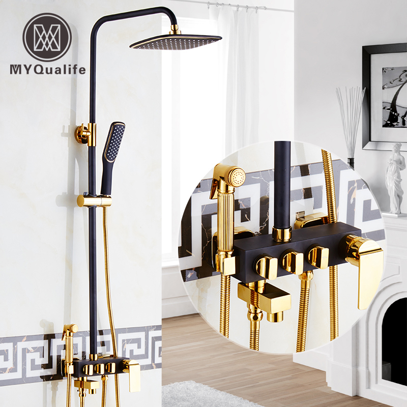 Golden and Balck Rainfall Bath Shower Faucet Set with Handheld Shower In Wall Bathroom Shower Mixer Tap Sprayer Gun Tap shower faucet bathroom luxury black orb golden rainfall shower set with sprayer bidet mixer tap wall mount shower faucets