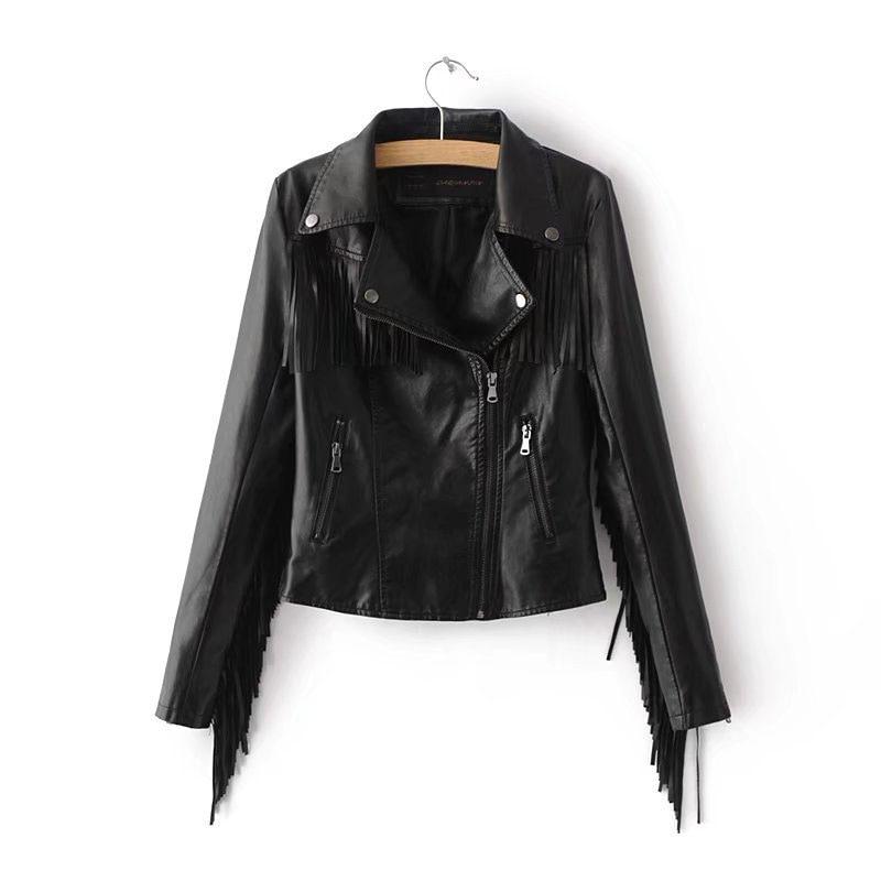 Women Fashion Tassel Pu   Leather   Jacket Punk Style Zipper Split   Leather   Coat Fringe Biker Motocycle Faux   Leather   Jacket Female