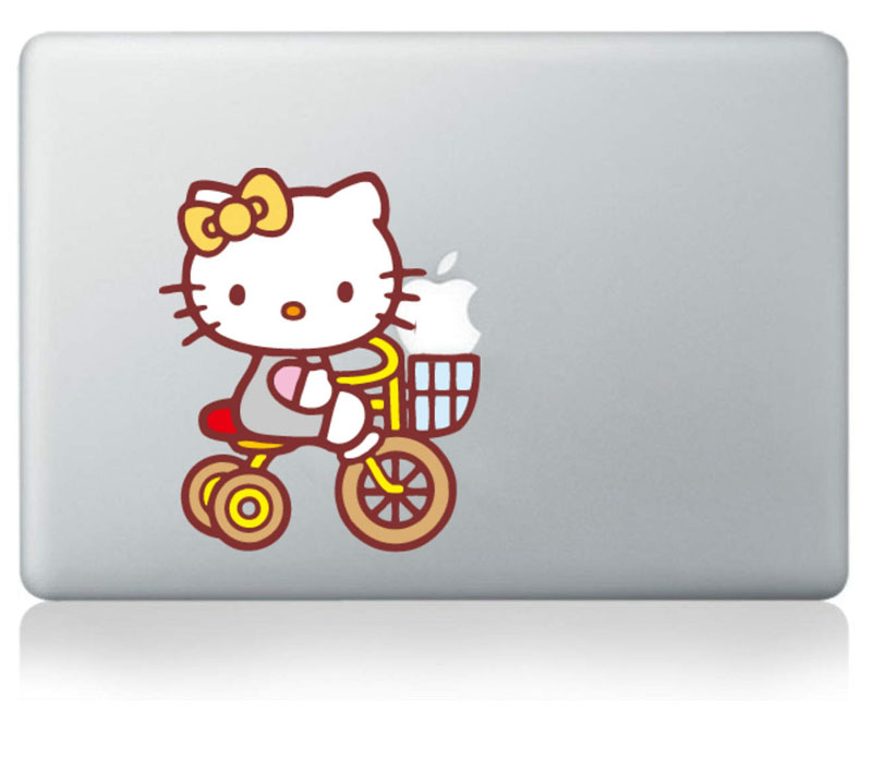 Hello Kitty by bike Vinyl Decal Sticker for Apple Macbook Pro / Air 11 13 15 Inch Laptop Case Cover Sticker