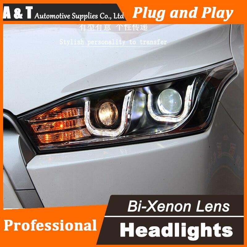 Авто Стиль освещения светодиодный налобный фонарь для Тойота Yaris L светодиодный фары Ассамблеи 2014-2016 двойной U светодиодные H7 с HID комплект 2 шт.