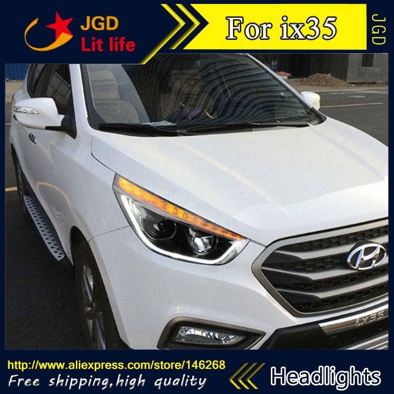 Free shipping ! Car styling LED HID Rio LED headlights Head Lamp case for Hyundai IX35 Bi-Xenon Lens low beam