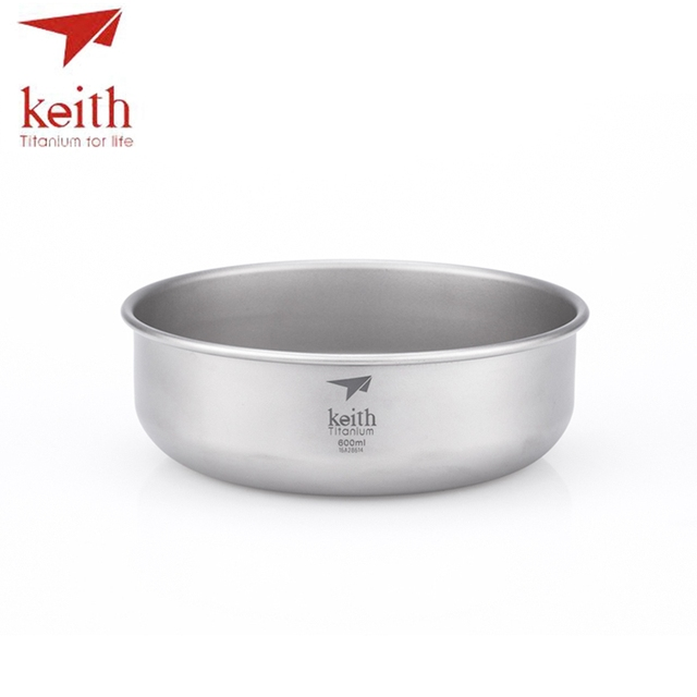 Keith Camping Pure Titanium Bowls 300ml-900ml Bowls Cookware Tableware Cutlery Ti5333-Ti5338