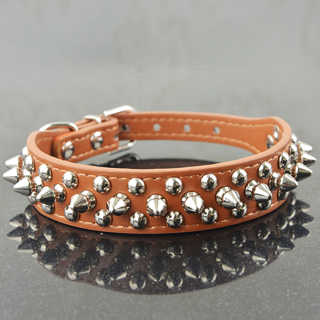 Hot Sale Fashion Pu Leather Studded Round Spikes and Small MushRoom Dog Pet Collar BullDog Necklace