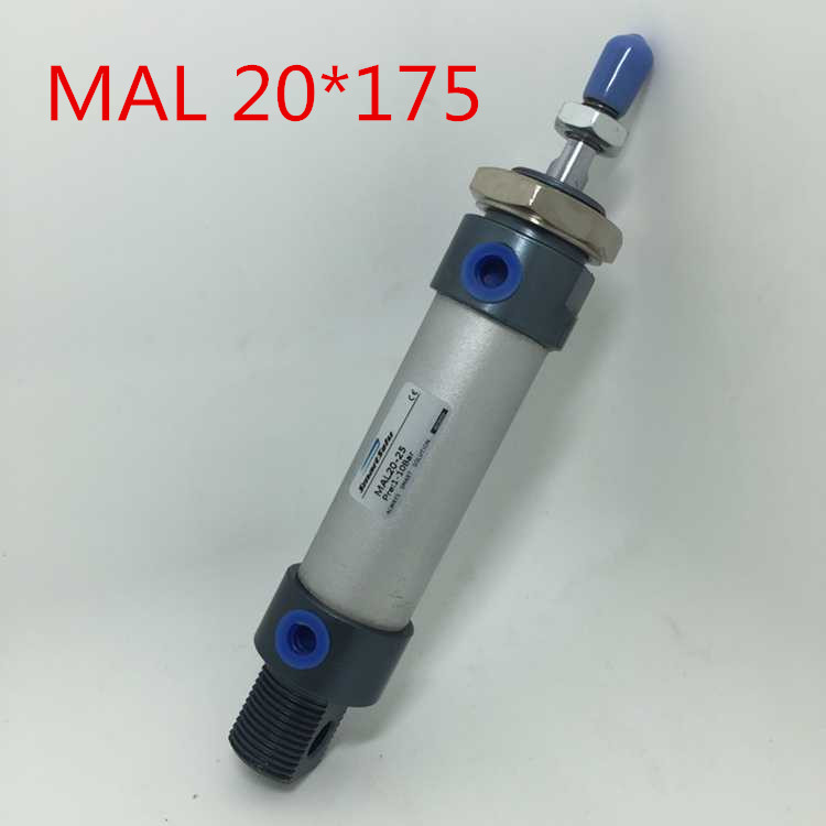 Free Shipping MAL 20 X 175 Bore 20mm Stroke 175mm Aluminium Alloy Mini Cylinder , 20-175 MM , 1/8 Port Double Action Single Rod 1 piece 300x 140x 20mm 8 x 3w   20 x 1w
