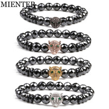 Leopard head CZ 8mm Hematite power bracelet for men natural stone beads magnetic sport Fitness font