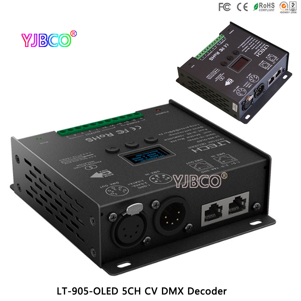 LTECH New  LT-905-OLED Led DMX Decoder driver;DC12-24V input;5A*5CH Max 25A 600W output RGB/RGBW XLR-3/RJ45 Led ControllerLTECH New  LT-905-OLED Led DMX Decoder driver;DC12-24V input;5A*5CH Max 25A 600W output RGB/RGBW XLR-3/RJ45 Led Controller