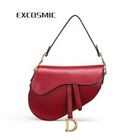 EXCOSMIC women famous designer Saddle bag shoulder bag handbag crossbody for women vintage Genuine leather bag messenger bag