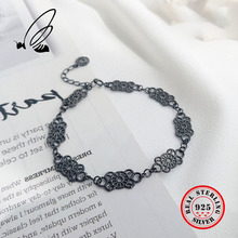 925 Sterling Silver Vintage Palace Baroque Openwork Lace Bracelet Women Fine Jewelry Hollow Out Carving Bracelet Free Shipping цены онлайн