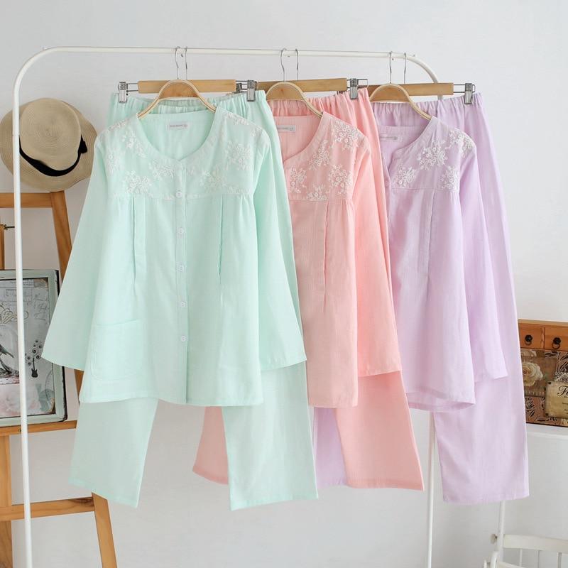 Cotton material bust 100 108cm Pyjama Femme Coton Womens Pyjamas Sleepwear Roupa De Dormir Feminina 1012