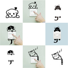 Cute Cats Dogs Stickers Switch Stickers for Wall Home Decoration Bedroom Interior DIY Decoration New