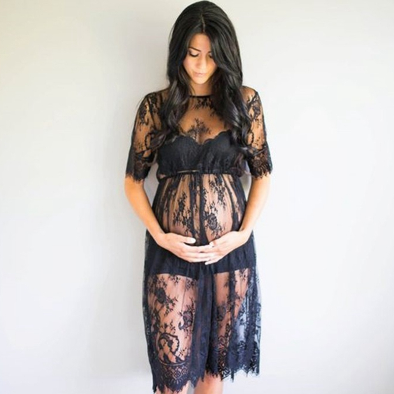 Lace See Through Maternity Dress Fancy Studio Clothes Pregnancy Photography Prop see through lace chiffon dress