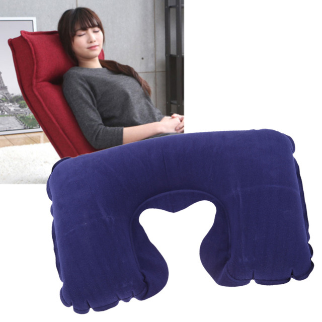 1pc Hot Air Inflatable Pillow U Shape Neck Rest Air Inflatable Cushion Travel Plane Train Even In Office Convenient Portable