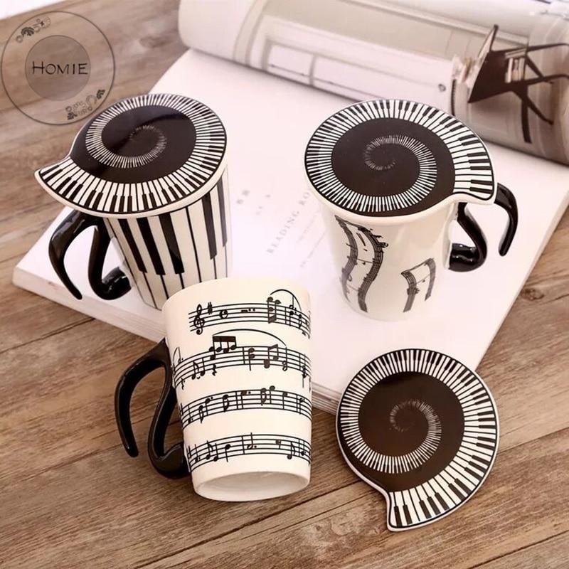 HOMIE Cute Simple piano music Ceramic Coffee Mug Large 300ml Animal Mugs creative Drinkware Tea milk Cups Novelty Newlywed couple07