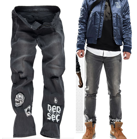 2016 Game Watch Dogs 2 WD2 Marcus Holloway Cosplay Jeans Full Length Casual Trousers Pants for