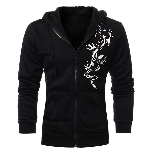 2016 Podom Autumn Winter Jacket Men Slim Fit Hooded Fleece Hoodies Dragon Printing Jacket Cardigan Zipper Sweatshirt Veste Homm