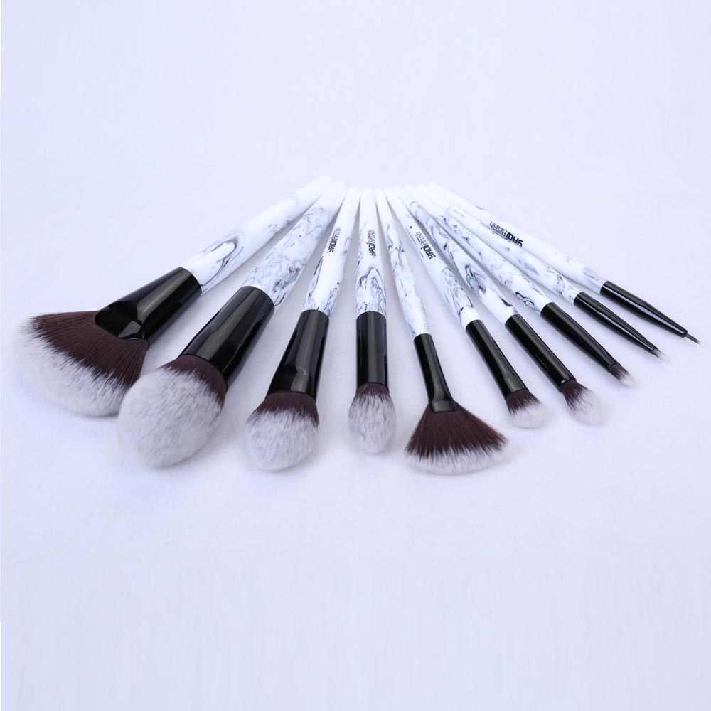 Yaqi 10 шт синтетические волосы мраморный цвет смолы ручка розовый PU футляр для макияжных кистей Набор