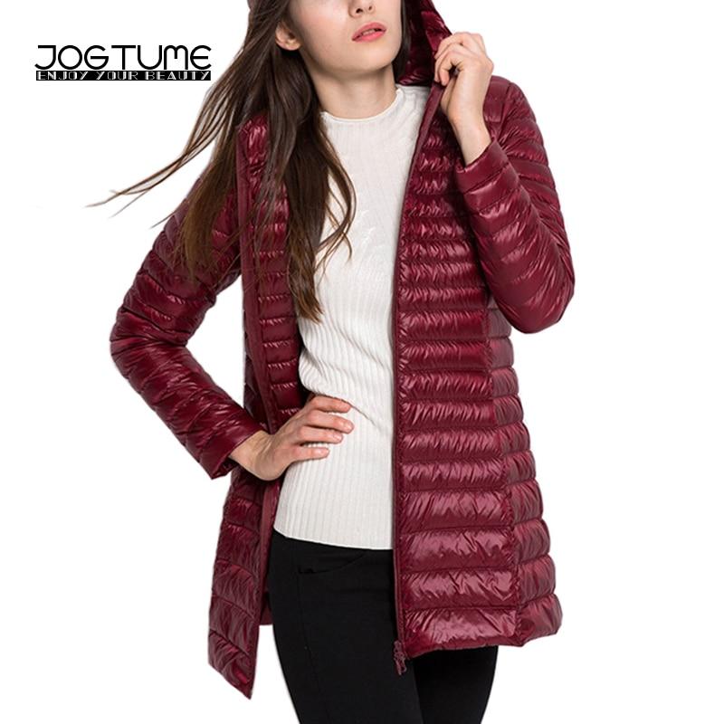 JOGTUME Autumn Winter Jackets 2017 Womens Fashion Down Jacket Long Hooded Lightweight Ladies Elegant Slim Coat Plus Size 5XL 6XL