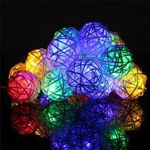 Christmas Holiday Lighting String 20 LED Rattan Ball Home Garden Wedding Party Xmas Decor Power by AA Battreies u61104