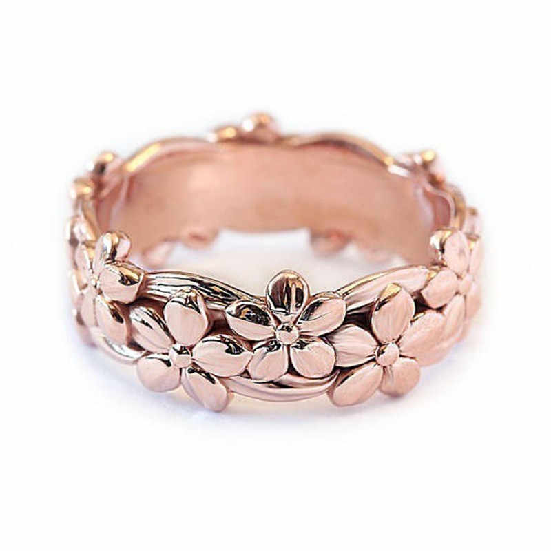f1a2cbbe1670 Modyle женский милый цветок ромашки палец кольцо Винтаж розовое золото цвет  ...