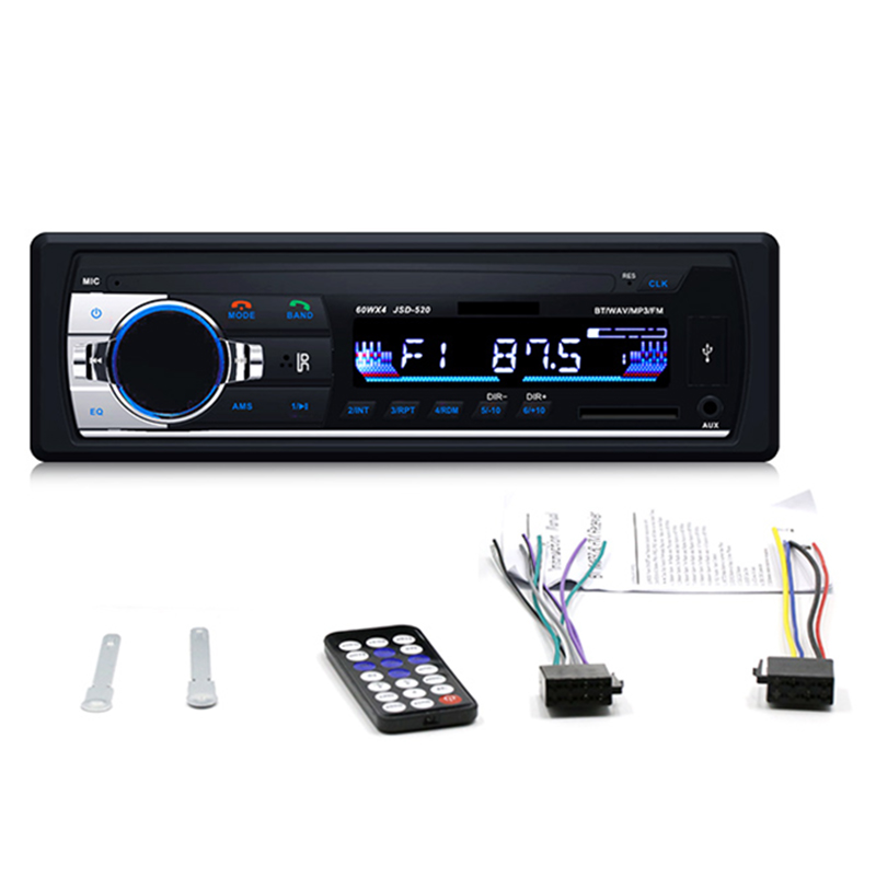 1 Din Bluetooth Car Radio Stereo MP3 Player Module JSD 520 Handsfree Kit Wireless Audio Adapter 3.5mm AUX-IN FM U Disk Playing