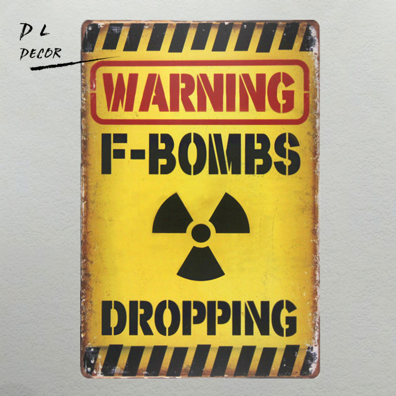 DL-WARNING F-BROPPING Letrero de metal vintage garage wall art poster coffee bar sign decoración para el hogar bandeja antigua