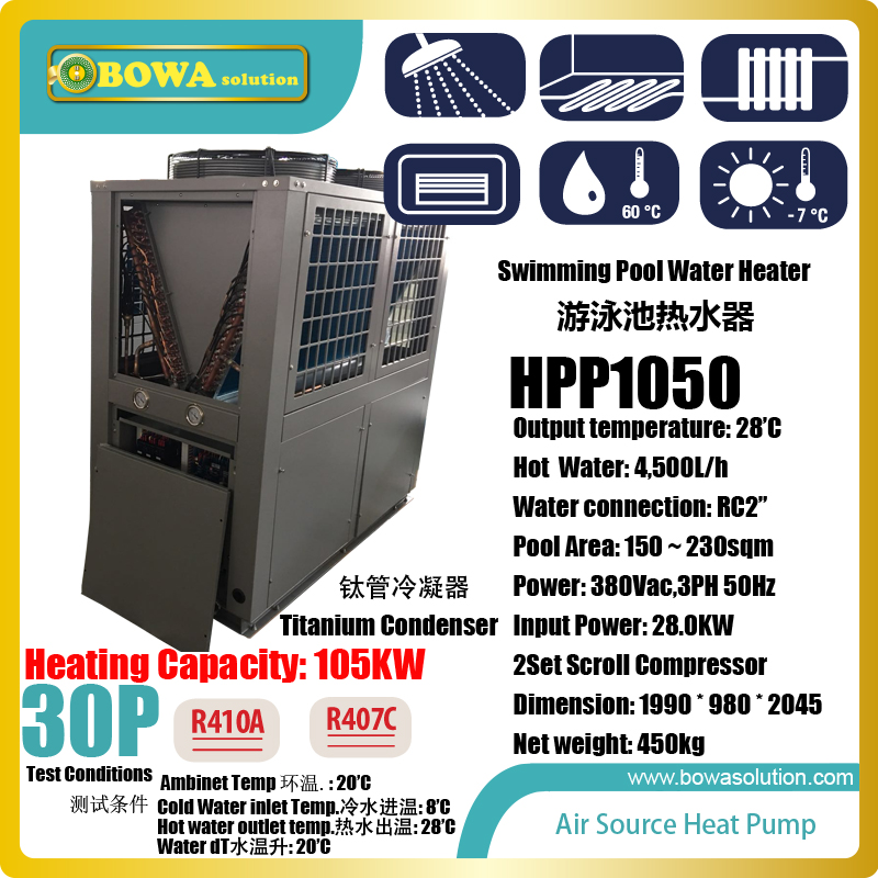 30p Air Source Heat Pump Water Heater Is For 150 230sqm Swimming Pool Or Combined In Different