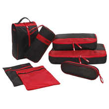 CHOOCI 7pcs Casual Shoes Clothes Storage Bags Set For Travel Business Trip Color:Black + Red