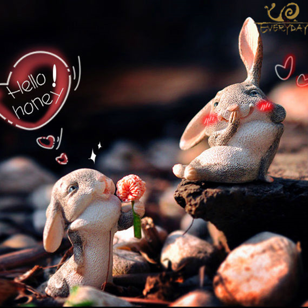 Everyday Collection 2pcs Rejoice Whimsical Easter Spring Bunny Rabbit Tabletop Home Accent Decoration valentine's day