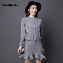2018 Autumn Winter Women Sweater Dress O Neck Sleeveless Knitted Bud Dress + Sweater with Pocket