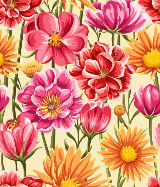 Custom retro wallpaper, 3D flower murals for the living room ...