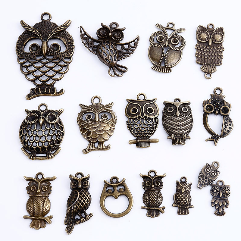 Vintage Metal Mixed Owl Charms For Jewelry Making Diy
