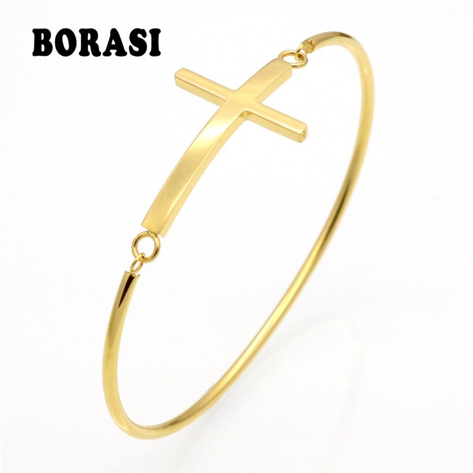 Fashion Gold Sideways Cross Faith Christian Stainless Steel Cross Bracelet Simple Tiny Small Horizontal Cross Bracelets