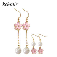 fashion woman earrings 2018 fine jewelry Fresh pink cherry blossoms Long pearl earrings Romantic cherry blossom earrings(China)
